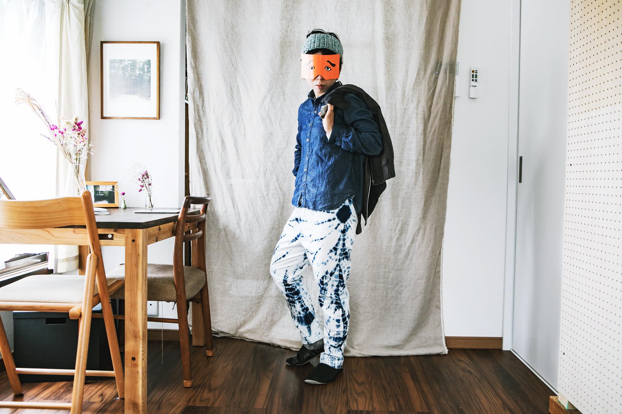 うなぎの寝床 現代風もんぺ 藍・墨染 宝島染工 藍柳絞り
