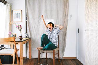 うなぎの寝床 現代風もんぺ 備後節織 節織 藍緑