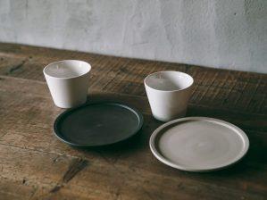 5寸皿 黒練・白練/南景製陶園